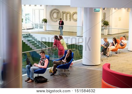 Moscow, Russia - September 3, 2016: People attend Digital Marketing Conference in big hall of Mail.ru internet company.