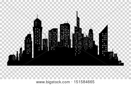 City skyline in grey colors. Buildings silhouette cityscape. Big city streets. minimalistic style. Vector illustration on transparrent background. Business centers