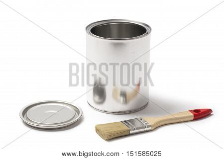 Blank metallic can for paint with an open lid and a paint brush isolated on white background.
