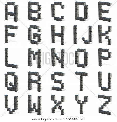 8 Bit Font. Capital Letters All. 3D
