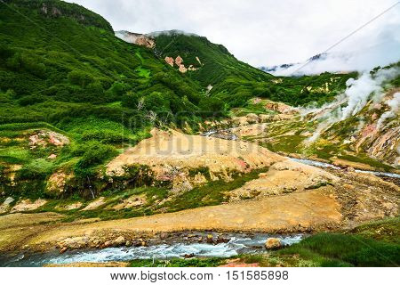 The Legendary Valley Of Geysers In The Summer. Kamchatka, Russia