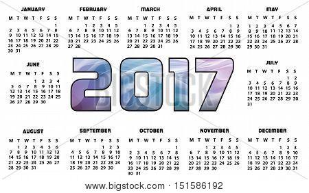 Calendar 2017 Futuristic Abstract - Calendar for 2017 year - Calendar 2017 Design Print -