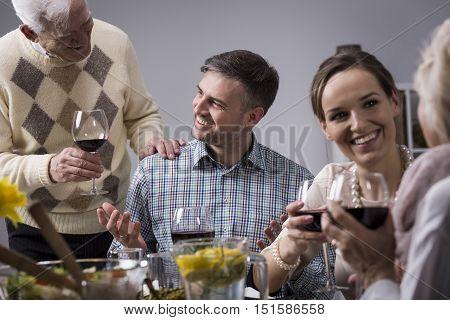 Having A Family Dinner