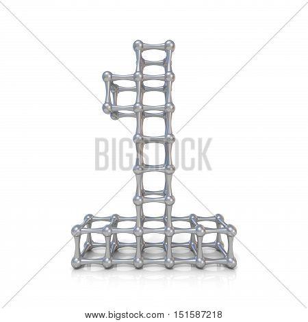 Metal Lattice Digit Number One 1 3D