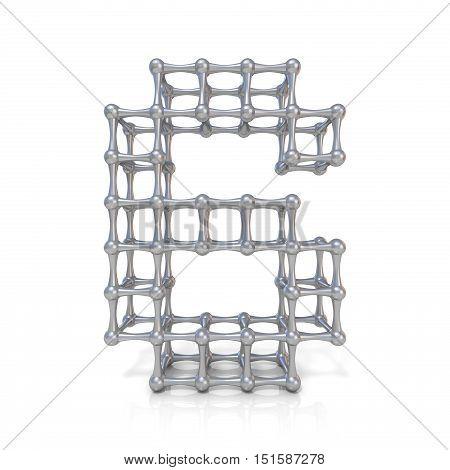 Metal Lattice Digit Number Six 6 3D