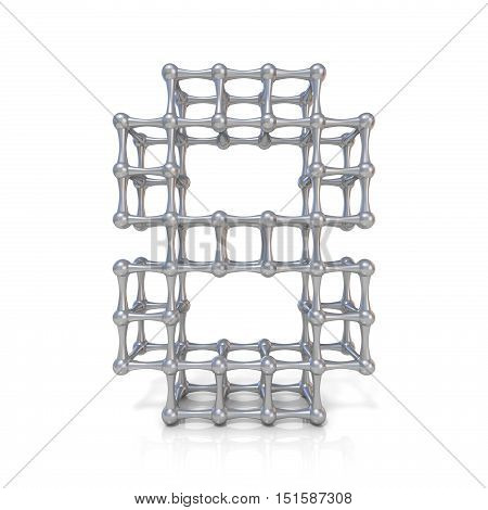 Metal Lattice Digit Number Eight 8 3D
