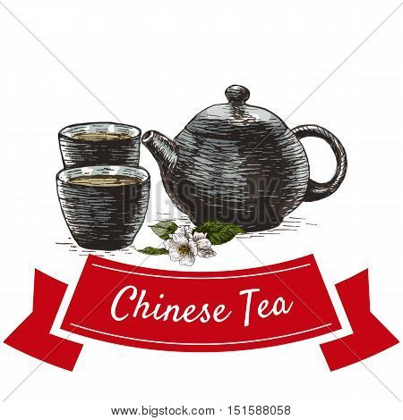 Chinese tea colorful illustration. Vector illustration of Chinese cuisine.