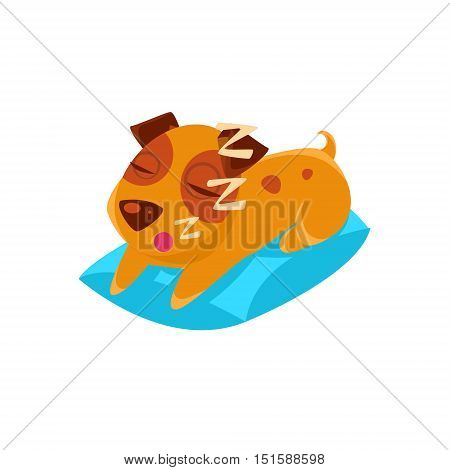 Sleeping Puppy On Blue Pillow. Dog Everyday Activity Childish Drawing Isolated On White Background. Funny Animal Colorful Vector Sticker.