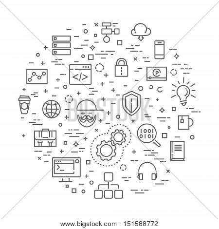 programming vector outline icons set. Technology, internet