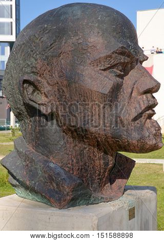 SOFIA, BULGARIA - SEPT. 25: Statue to Lenin in Sofia, the capital of Bulgaria on september 25 2013. Vladimir Ilyich Lenin was a Russian communist revolutionary, politician and political theorist.