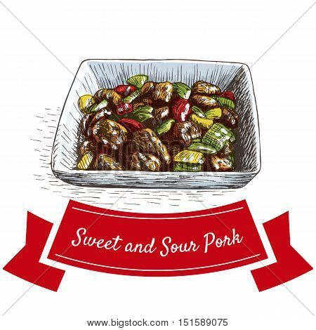 Sweet and sour pork colorful illustration. Vector illustration of Chinese cuisine.
