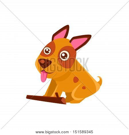 Happy Puppy Brought A Stick. Dog Everyday Activity Childish Drawing Isolated On White Background. Funny Animal Colorful Vector Sticker.