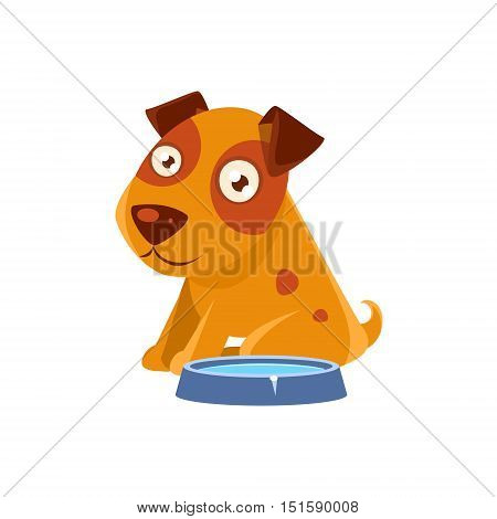 Puppy Sitting Next To The Bowl With Water. Dog Everyday Activity Childish Drawing Isolated On White Background. Funny Animal Colorful Vector Sticker.