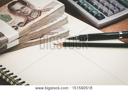 Business Money Desk Concept. Calculator, Pen And Money On Desk With Copy Space For Text. Money Calcu