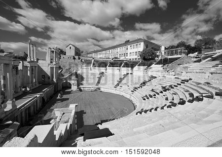 PLOVDIV, BULGARIA SEPT 21: City of Plovdiv and the ancient theatre of Philippopolis is a historical building in the city center of Plovdiv (ancient Philippopolis), Bulgaria. On Sept, 21 2013