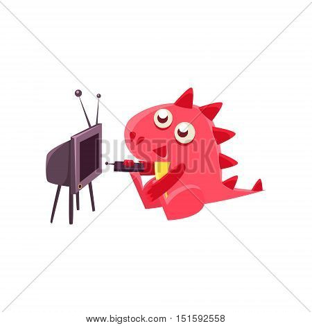 Red Dragon Watching TV Illustration. Silly Childish Drawing Isolated On White Background. Funny Fantastic Animal Colorful Vector Sticker.