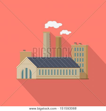 Factory with long shadow in flat style. Industrial factory building concept. Manufacturing plant building. Power electricity industry manufacturer icon. Manufacturer production technology. Vector