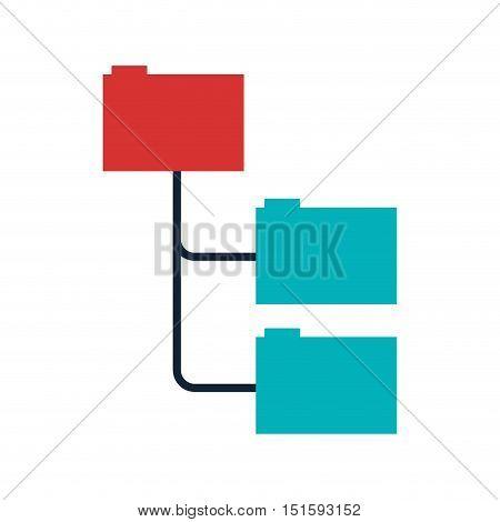 colored folders organized in line vector illustration