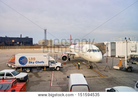 CHICAGO, IL - MARCH 22, 2016: Virgin America jet airliner at Chicago O'Hare International Airport. Virgin America Inc. is a United States-based airline.