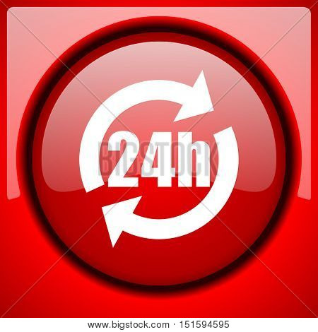 24h red icon plastic glossy button