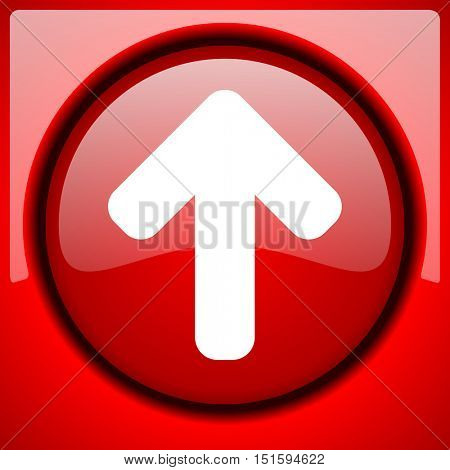 up arrow red icon plastic glossy button