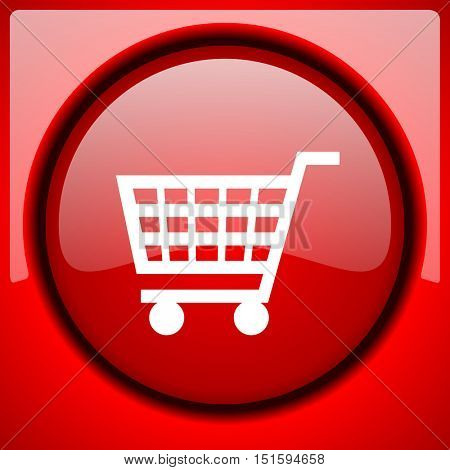 cart red icon plastic glossy button