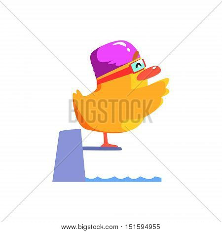 Duckling Jumping In Pool Cute Character Sticker. Little Duck In Funny Situation Childish Cartoon Graphic Illustration On White Background.