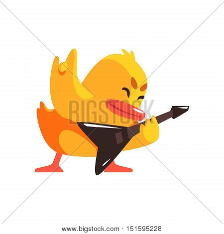 Duckling Playing Electro Guitar Cute Character Sticker. Little Duck In Funny Situation Childish Cartoon Graphic Illustration On White Background.