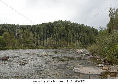 nature, mountain river, river, water, summer, rapids, fast water, Kazakhstan, river Chernaya UBA, UBA Black