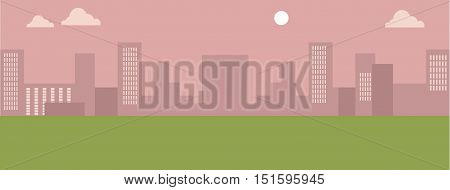 Urban cityscape with orange sky and white clouds. Silhouettes of buildings. Office buildings, building scenery, urban landscape, urban background, city panorama vector illustration in flat