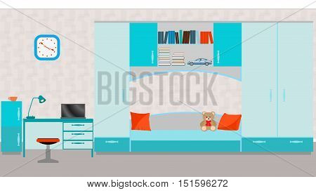 Child room interior with bed, table, laptop, toys and wall clock. Vector illustration in flat style