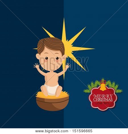 baby jesus with biblical christmas related icons image vector illustration design