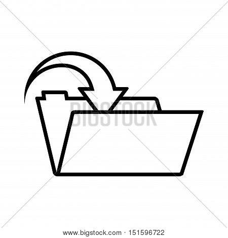silhouette folder with arrow inside vector illustration