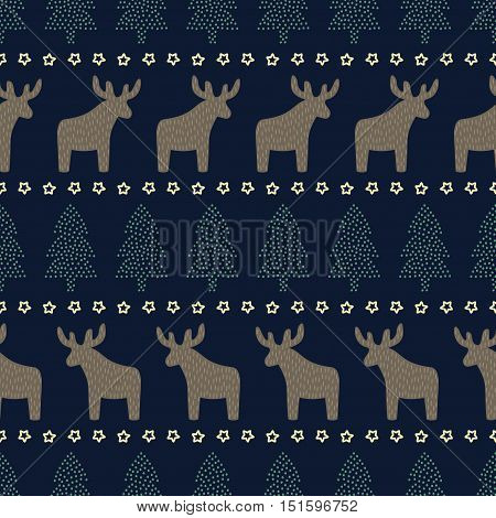 Christmas seamless pattern on dark blue background - Xmas trees, deers and stars. Scandinavian sweater style. Design for textile, wallpaper, wrapping paper, fabric, decor.