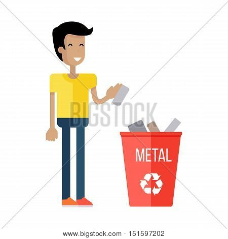 Waste recycling concept. Boy in yellow t-shirt and blue pants taking out the trash in red recycle garbage bin with metal. Sorting process different types of waste. Environment protection.