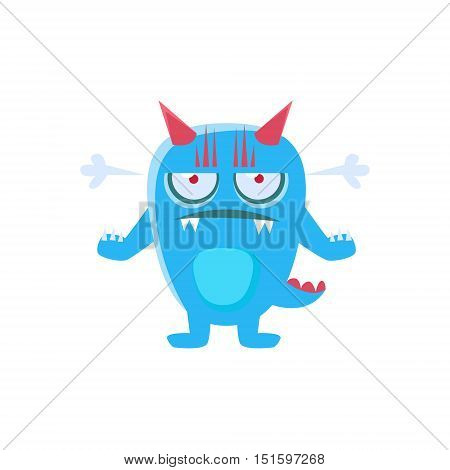 Angry Blue Monster With Horns And Spiky Tail. Silly Childish Drawing Isolated On White Background. Funny Fantastic Animal Colorful Vector Sticker.