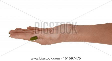 Palm up giving anything, natural female's skin, yellow manicure. Isolated on white background.
