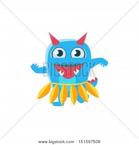 Blue Monster With Horns And Spiky Tail Dancing Hula. Silly Childish Drawing Isolated On White Background. Funny Fantastic Animal Colorful Vector Sticker.