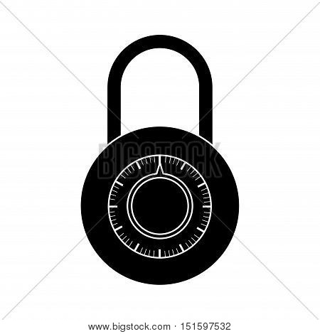 silhouette padlock with circular body and shackle vector illustration