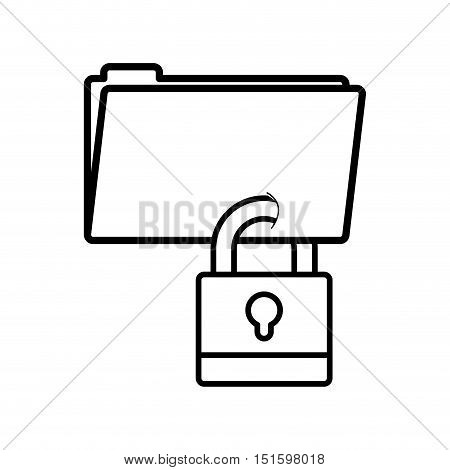 silhouette folder wit paclock closed vector illustration