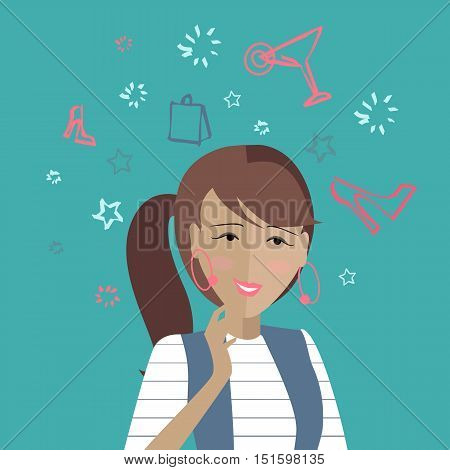 Woman dreaming about her weekends. Girl thinks how to spend her weekend cheerful. Thoughts that you need hang off at the party. Part of series of daily routine of the week. Vector illustration.