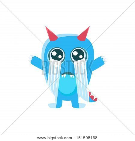 Blue Monster With Horns And Spiky Tail Crying Out Loud. Silly Childish Drawing Isolated On White Background. Funny Fantastic Animal Colorful Vector Sticker.
