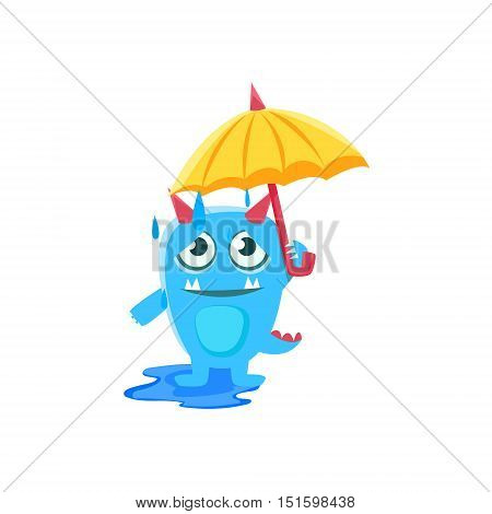 Blue Monster With Horns And Spiky Tail With Umbrella Under Rain. Silly Childish Drawing Isolated On White Background. Funny Fantastic Animal Colorful Vector Sticker.