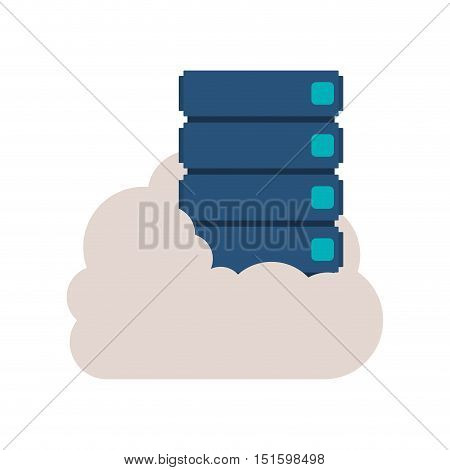 file cabinet into the cloud vector illustration