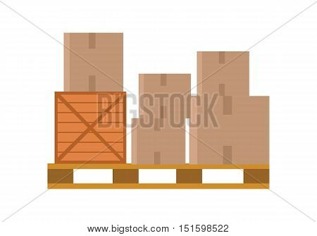 Worldwide warehouse delivering. Pallet with boxes. Logistics container shipping and distribution. Transportation through the world. Loading and unloading boxes. Part of series of worldwide delivery