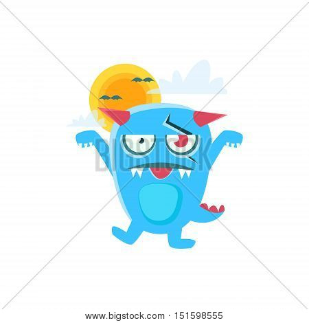 Zombie Blue Monster With Horns And Spiky Tail. Silly Childish Drawing Isolated On White Background. Funny Fantastic Animal Colorful Vector Sticker.