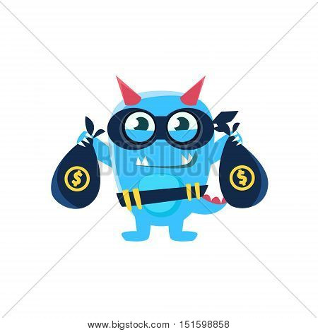 Blue Monster With Horns And Spiky Tail Robbing The Bank. Silly Childish Drawing Isolated On White Background. Funny Fantastic Animal Colorful Vector Sticker.