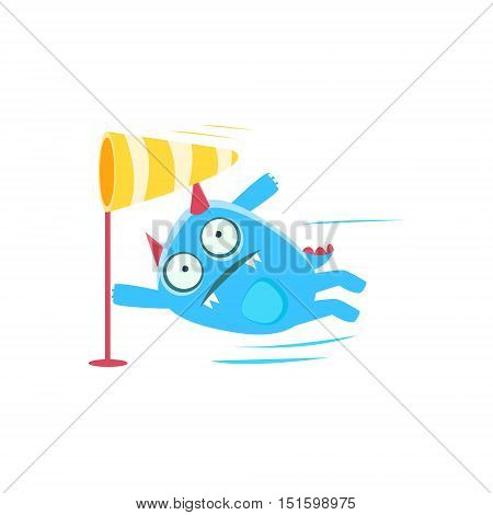 Blue Monster With Horns And Spiky Tail Blown By The Wind. Silly Childish Drawing Isolated On White Background. Funny Fantastic Animal Colorful Vector Sticker.
