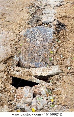 Rusty Metal Manhole. Emergency Repair Works On The Road.