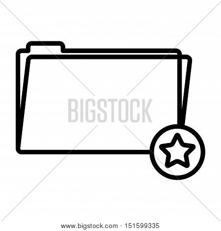 silhouette folder favorites button with stars shape vector illustration